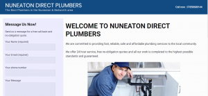 Screenshot of Nuneaton Direct Plumbers website