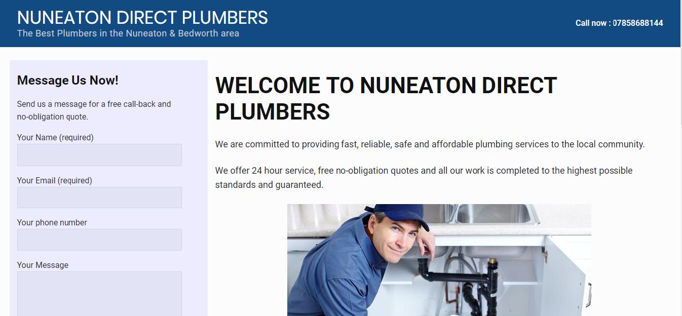 Screenshot of Nuneaton Direct Plumbers website